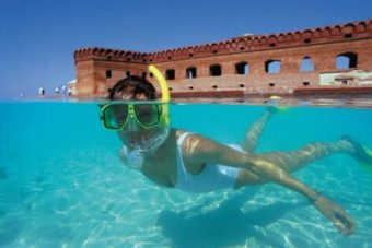 Woman snorkeling in the water