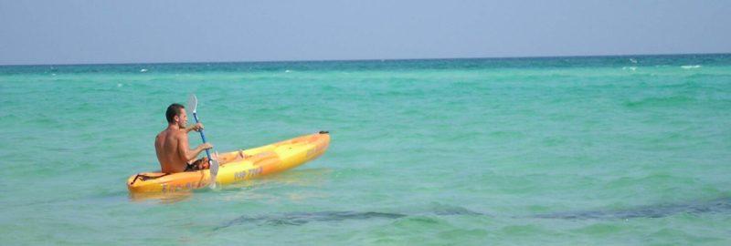 Man kayaking on the water