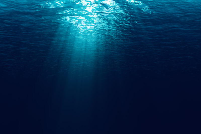 light filtering into ocean from above