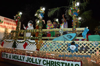 people on a float for the community Christmas parade