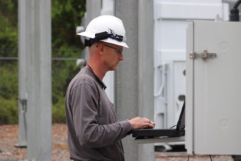 Daniel Carver working on a SVEC substation