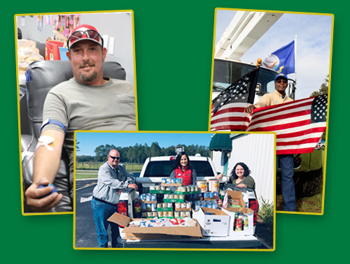 man donating blood, american flags, and people in back of car with canned food