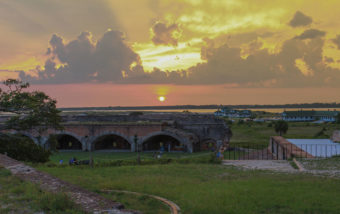 sunset over Fort Pickens