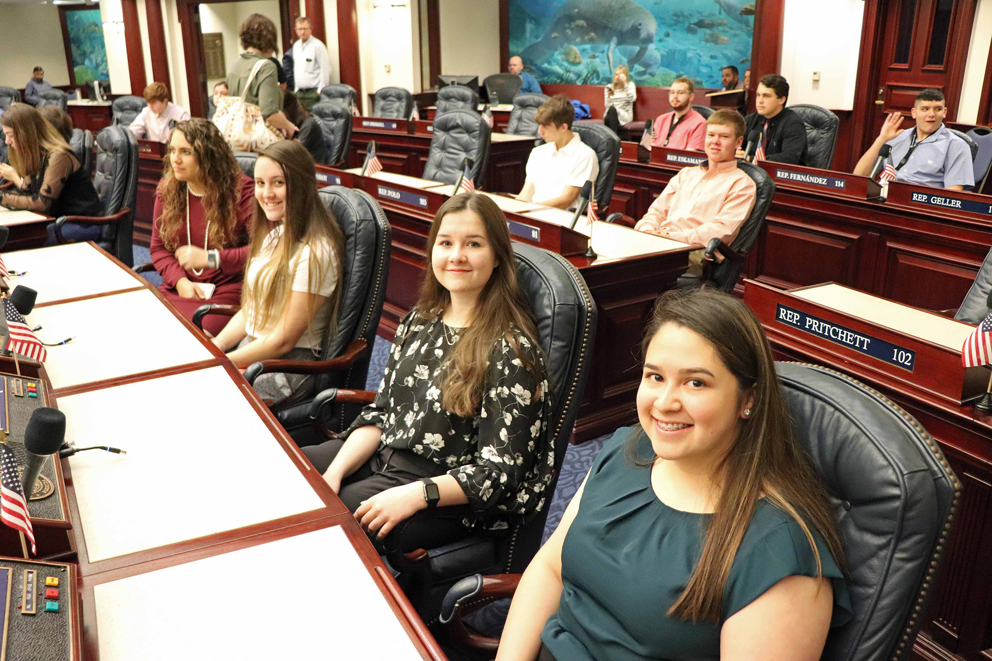 students sitting in chamber for mock bill