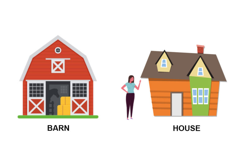 barn and house illustration
