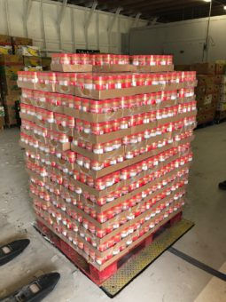 large crate stacked with peanut butter