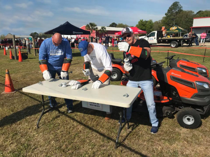 pit stop at lawn mower race