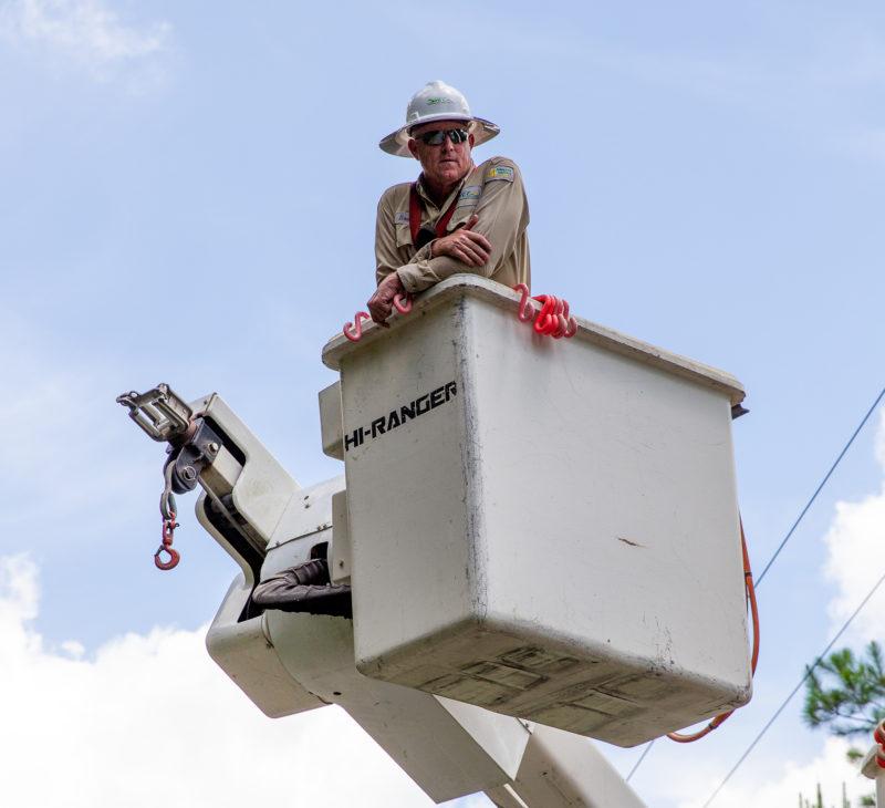 lineman in bucket truck