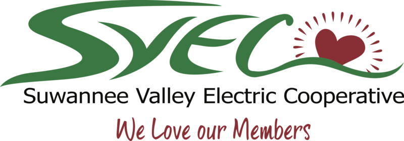 Suwannee Valley Electric Cooperative logo with added heart graphic. We Love our Members.