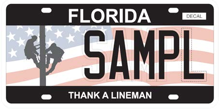 Sample of Thank a Lineman license plate