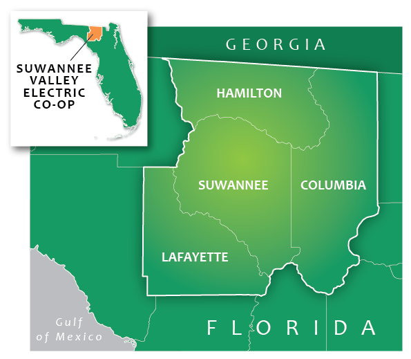 A map shows the 4 Florida counties SVEC serves and shows the area in context of the entire state.