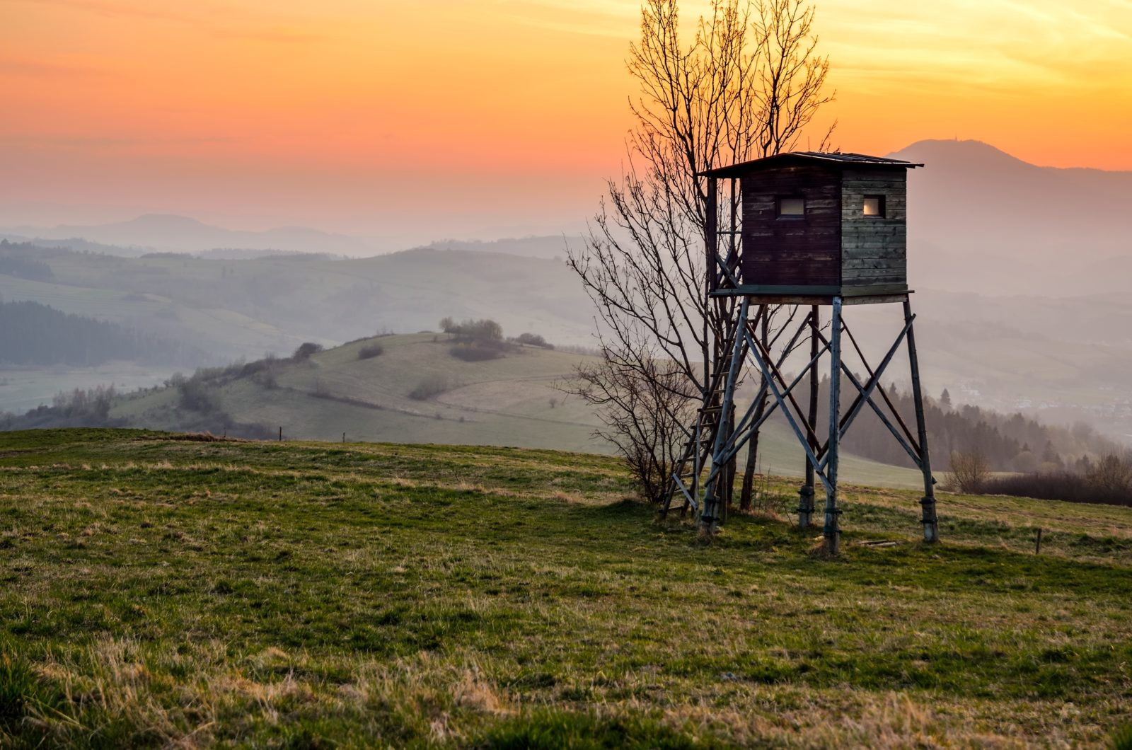 Hunting pulpit and the setting sun over the hills.