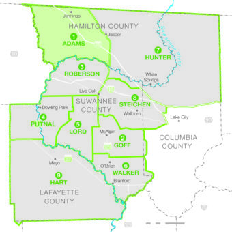 map of SVEC service territory highlighting District 1