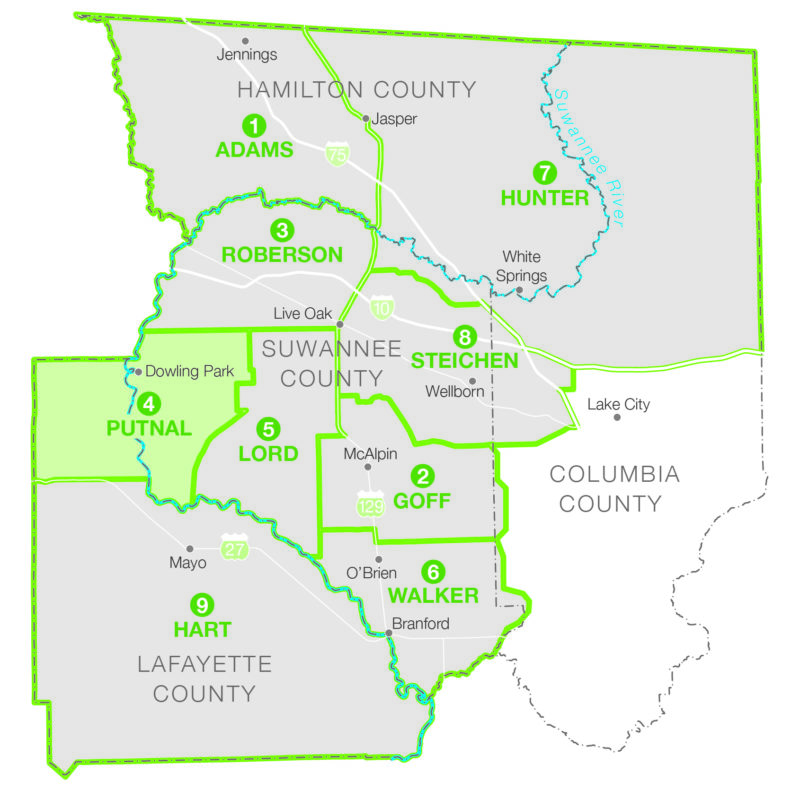 Map of western Suwannee County and the northernmost part of Lafayette County.