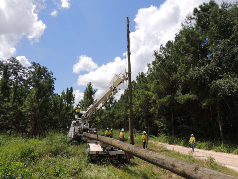 bucket trucks with downed power poles