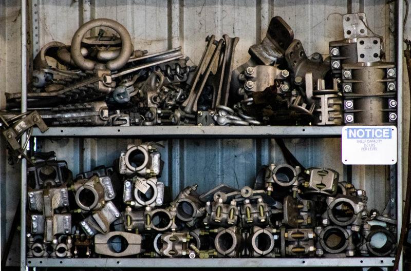 tools on shelves at warehouse