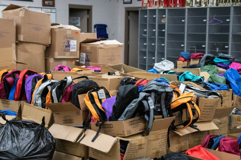 boxes of backpacks