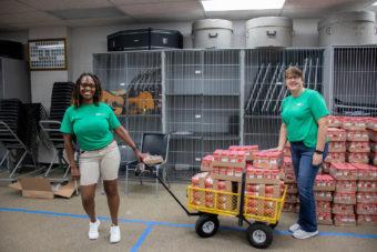 volunteers with supplies
