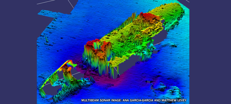 heat map of shipwrecked boat