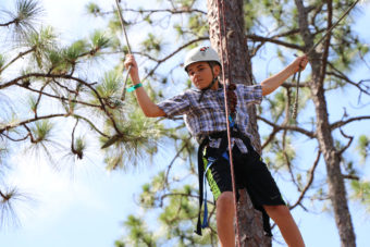 Young boy climbing trees with ropes